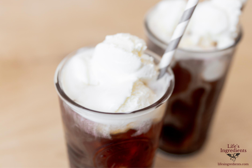 Coffee float with vanilla ice cream